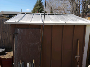 8x8 shed with doors i have sheeting to do roof you can have too.