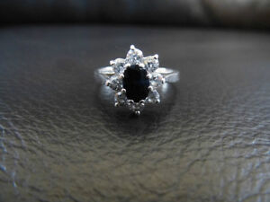Sterling Blue Sapphire and CZ Ring