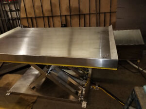 """Hydraulic lift table stainless steel  safety rail 3'x5' lifts30"""""""