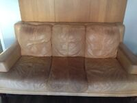 Aniline 3 seat leather sofa and armchair and footstool with storage