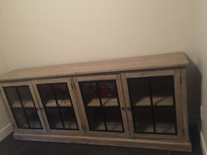 Solid reclaimed wood sideboard - media cabinet - bookcase
