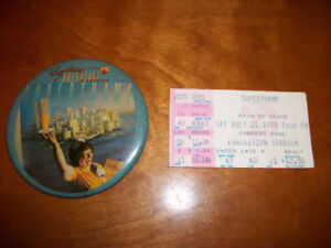 Vintage 1979 SUPERTRAMP Concert Ticket Stub with Matching Button