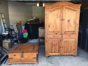 Pine Armoire & Table