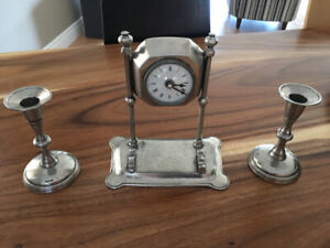 Pewter Clock and Candlestick Set