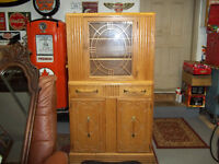Mid Century Solid Oak Cabinet mint condition