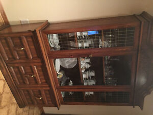 Dining table and glass hutch