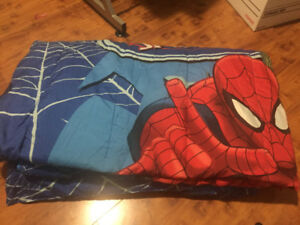 Spiderman bedding & stuffie , superhero mat,  Disney frozen mat