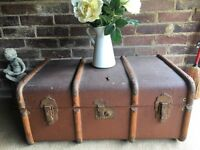 VINTAGE ENGLISH TRUNK WITH KEY FREE DELIVERY COFFEE TABLE STORAGE BOX