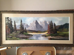 Original Large Wall Oil Painting - Mountain River scene