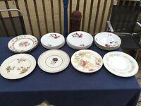 Selection vintage dinner plates.