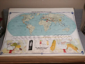 SUPERBE carte CEGEP vintage Denoyer Geppert World History