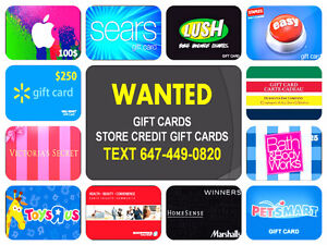 Willing to Buy ALL Gift Cards and Store Credit Gift Cards