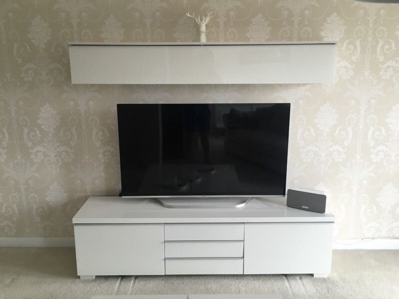 ikea tv stand shelf with lights in white gloss in bridgend