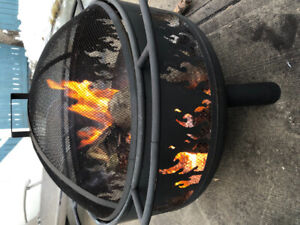 Fire Pit with Grill, Cover and Poker BRAND NEW IN BOX with WOOD