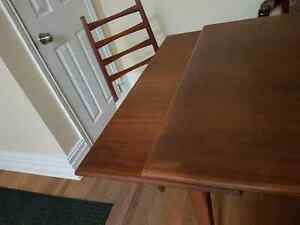 1960s Mid Century Danish modern solid teak dining table 6 chairs