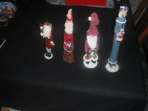 Santas -  Three Skinny Resin and One Skinny Resin Caroller