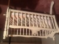 Rocking cradle with mattress , blankets, bumper pads, teddy