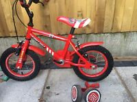 "Apollo fireman bike with stabilisers 12"""