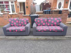 12. 3+2 grey and pink material sofa