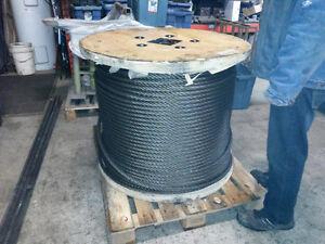 Câble d'acier 7/8'' longueur de 2500 pieds. steel cable