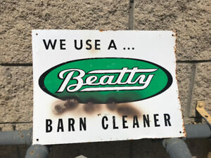 """VINTAGE BEATTY BROS TIN SIGN """"WE USE A ... BEATTY BARN CLEANER"""""""