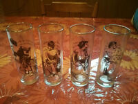 Four Tumblers with Victorian women