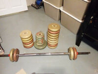 5 lbs weights and bar