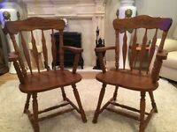 Large oak table & chairs