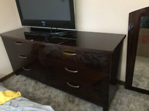 Brown Wooden Dresser and Night Stand