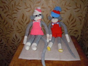 stuffed sock monkeys with knitted outfits Peterborough Peterborough Area image 1