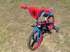 Spider-Man bicycle with training wheels