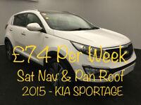 £319 PER MONTH - 2015 KIA SPORTAGE 2.0CRDi KX-3 WITH SAT NAV 5 DOOR AUTO DIESEL