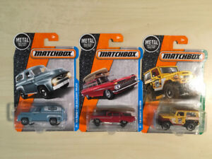 Matchbox Diecast Cars. Chevy Wagon, Ford Truck & Toyota Cruiser