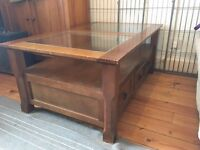 Oak wood and glass coffee table. Can deliver