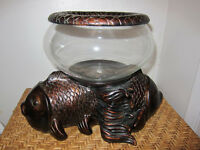 FISH BOWL (ANTIQUE FINISH) 9 INCH DIAM. GLASS BOWL (NEW IN BOX)