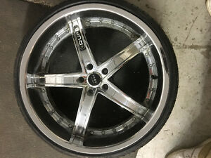 "22"" inch ruff racing rims/tires"