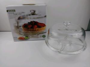 Cloche a gâteaux 2 en 1 plateau a hors d'oeuvres en verre