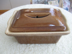 VERY OLD VINTAGE BROWN GLAZED COVERED CLAY OVENWARE