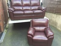FREE DELIVERY - HARVEYS LUXURY CHESTNUT BROWN 3 & 1 FULL LEATHER SOFAS