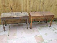 2 vintage wooden school desks