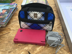 Pink Nintendo ds, charger and bag