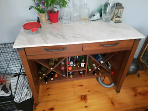 Bar with drawers shelves and hooks