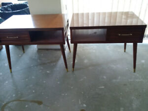 1960s VINTAGE MID CENTURY MODERN WOOD END TABLES – TWO