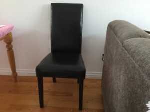 Six Espresso faux leather dining room chairs