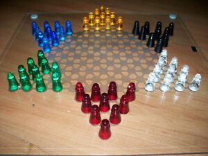 """Glass Chinese Checkers 14"""" Glass Gameboard & Pieces in 6 Colors."""