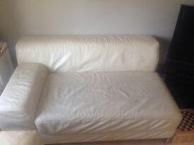 Leather cream sofa from ikea
