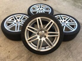 "GENUINE AUDI A3 S-LINE 18"" ALLOYS w/TYRES - 225/40/18 - A4/VW GOLF CADDY TOURAN - SLOUGH"