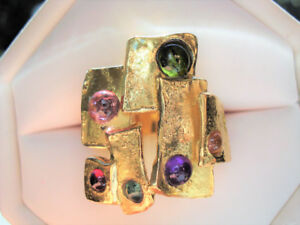 WOW! TOURMALINES Designer / ITALY 18k Yellow Gold~Ring, 10.7 gr.