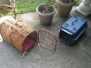 Cat carrier , one plastic , one hand made