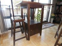 Square pub style kitchen table with 4 stools